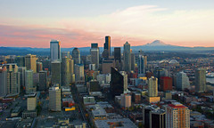 Seattle downtown and Mt.Rainier from Space Needle photo by WorldofArun
