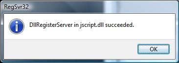 RegSrv32 jscript.dll Success