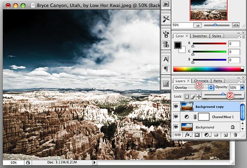 Photoshop color infrared conversion tutorial -- set layer blend mode and opacity