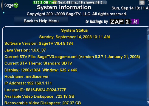 System Info Menu in SageTV