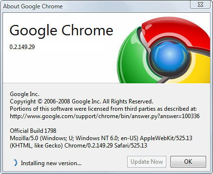 Google Chrome - Updating