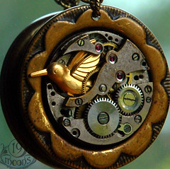 Windup Bird Vintage Collage Necklace by 19 Moons Steampunk photo by 19moons