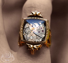 L'AGE D'OR SteamPunk Vintage Watch Ring by 19 Moons GOLD RUBIES Neo Victorian Art Deco photo by 19moons