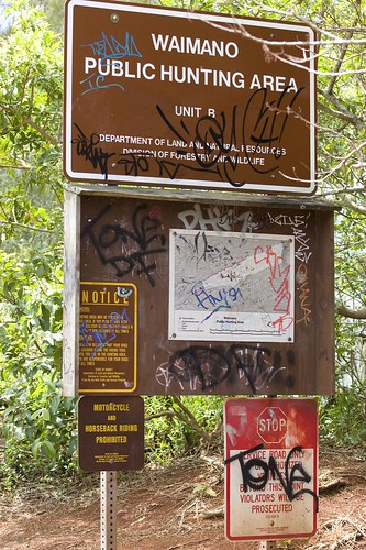 grafiti sign at bottom of manana trail