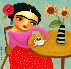 Frida with sunflowers 2008