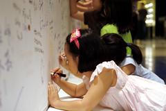 Writing her dedication