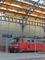 Class 218 diesel loco at Luebeck Hauptbahnhof