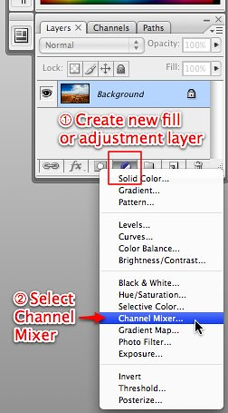 Photoshop -- Create new fill or adjustment layer > Channel Mixer
