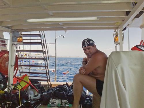 Captain Paris on the M/Y Kaith II