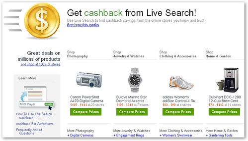 Microsoft Live Search Cash Back