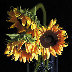Sunflowers in Ball Glass photo by nance danforth painting studio