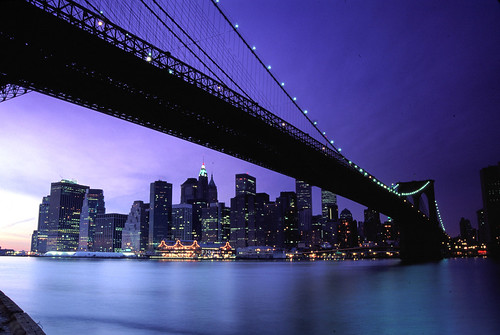 Purple Dusk at Brooklyn Bridge