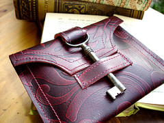 Damask Leather Wallet with Antique Skeleton Key...Antique Claret photo by UrbanHeirlooms
