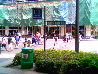 Orchard road, where many malls and entertainment places exist.