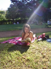Pato reading in the park
