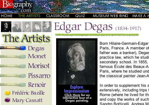 Snapshot of the Biography website