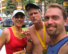 Csilla, Matt, and me after the 2005 Budapest Half Marathon