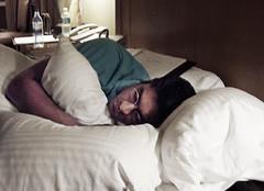 Frank sleeping on set