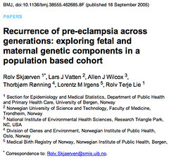 on the recurrence of pre-eclampsia across generations
