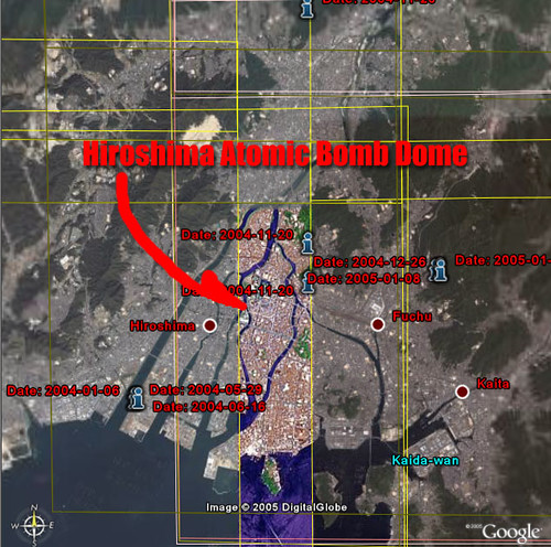 Google Earth New High-Resolution Area - Hiroshima - Unnaturally Avoiding Atomic Bomb Dome