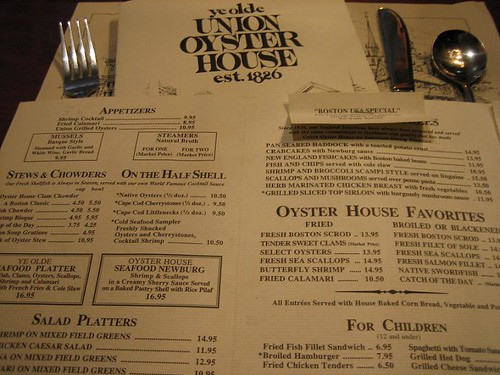 Union Oyster House Menu