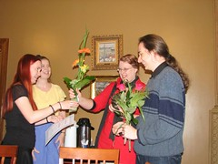 Atorox winners receiving the award and flowers