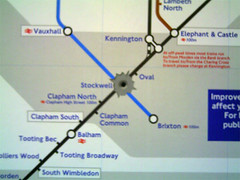 Graffiti of Stockwell London Underground Station on tube map