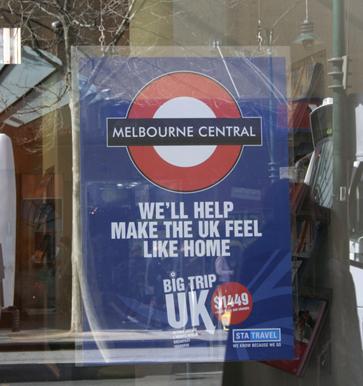 Melbourne using London Underground Roundel to good effect