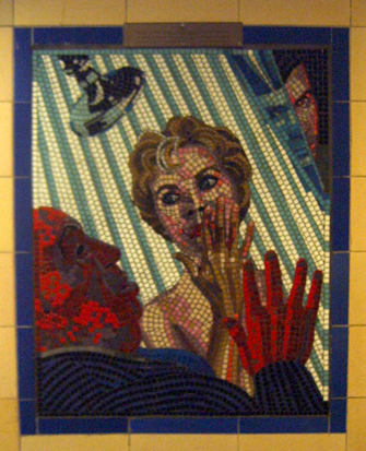 Hitchcock Leytonstone London Underground Mosaics - Pyscho
