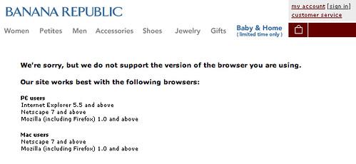 Banana Republic's web site in Safari 2.0