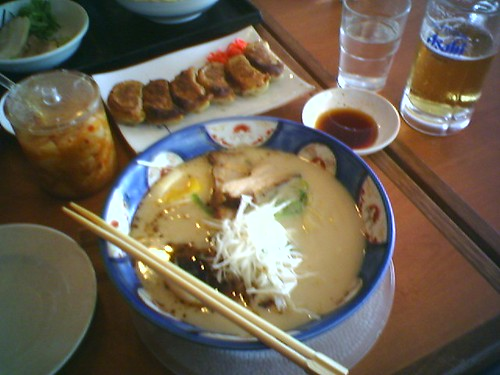 Clockwise from upper right: Asahi Nama Biru, Tonkotsu Ramen, Kimuchi, Gyoza