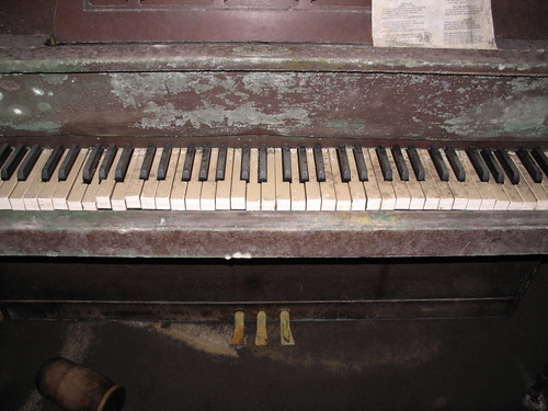 This is what 5 feet of water does to an upright piano.