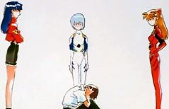 Painting of Shinji the coward trembles while classmates look at him