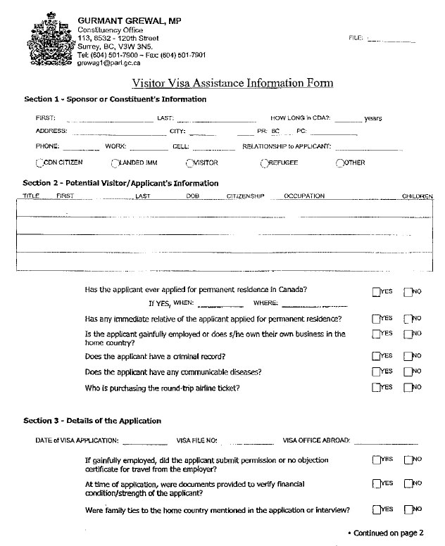 Grewal Chronology Blank Visa Guarantee Bond Form