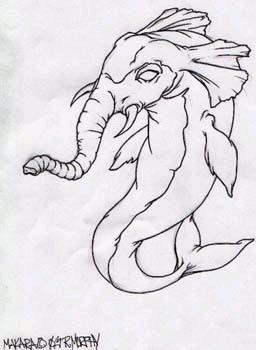Simpática representación de un elefante marino