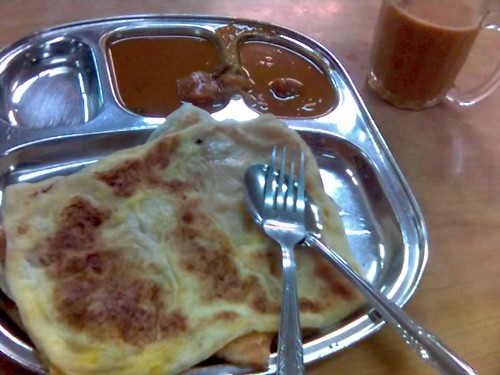 Egg Prata, Cheese Prata, and Teh Halia