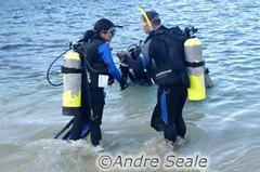 Entrando no mar para o primeiro mergulho