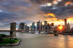 Sunset over the Brooklyn Bridge and Lower Manhattan, New York City photo by andrew c mace