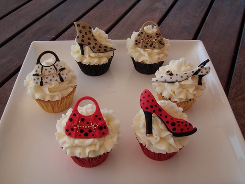 """Bring on the glam & glitz Girl's night out shoes & bags cupcakes"" by"