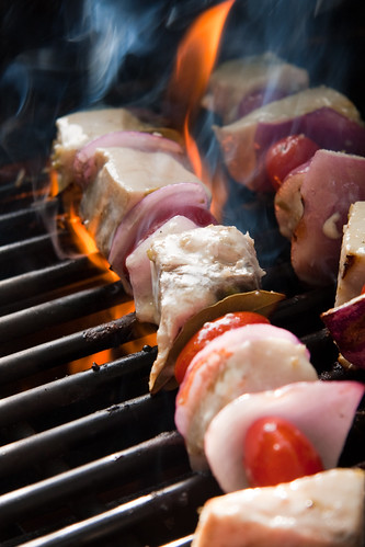 Grilling Swordfish Souvlaki on the grill