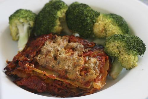 Vegan Lasagna and Broccoli
