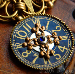 TEMPUS VERNUM Vintage Steampunk Watch Collage Necklace Original by 19 Moons SPRING TIME Luminous Blue SAPPHIRE AND GOLD BRASS BEAD CHOKER photo by 19moons