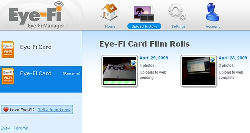 Eye-Fi Manager Upload History