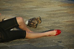 Woman with one red shoe photo by Saumil U. Shah