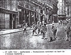 Provence- 1944 -Hyères- Tirailleurs place Gambetta- Source  Pierre Tropet conservateur du Memorial de Hyères