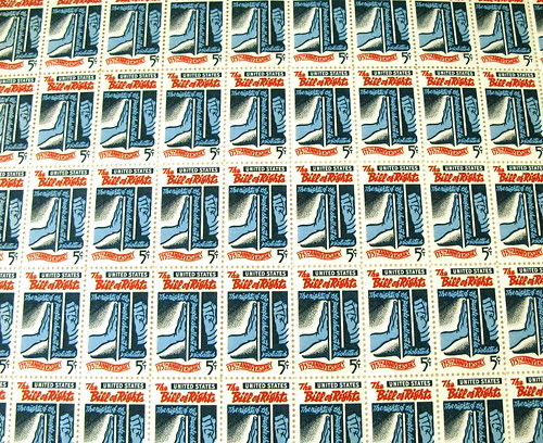 Five cent U.S. stamp sheet Bill of Rights 175th anniversary