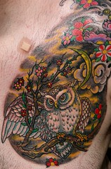 The day after - Owl tattoo - with color photo by 10%bigger