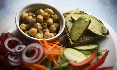 Chickpea Salad with Avocado on Toast