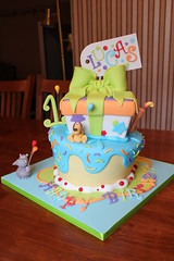 Hippo and Dog wonky party cake photo by Andrea's SweetCakes