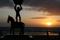 Blackpool Prom Scuptures at Sunset